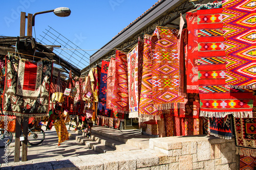 Photo SKOPJE, MACEDONIA - OCTOBER 12, 2017: Vintage carpets in the old city of Skopje