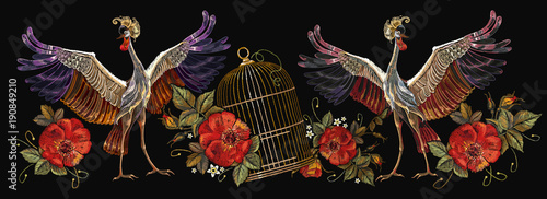 Fotomural Embroidery crane birds, golden cage and roses