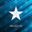 USA Happy Presidents Day greeting card with silver star on blue background. Vector illustration.