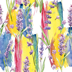 Panel Szklany Vintage Wildflower lavender flower pattern in a watercolor style. Full name of the plant: lavender. Aquarelle wild flower for background, texture, wrapper pattern, frame or border.