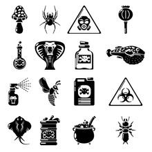 Poison Danger Toxic Icons Set, Simple Style