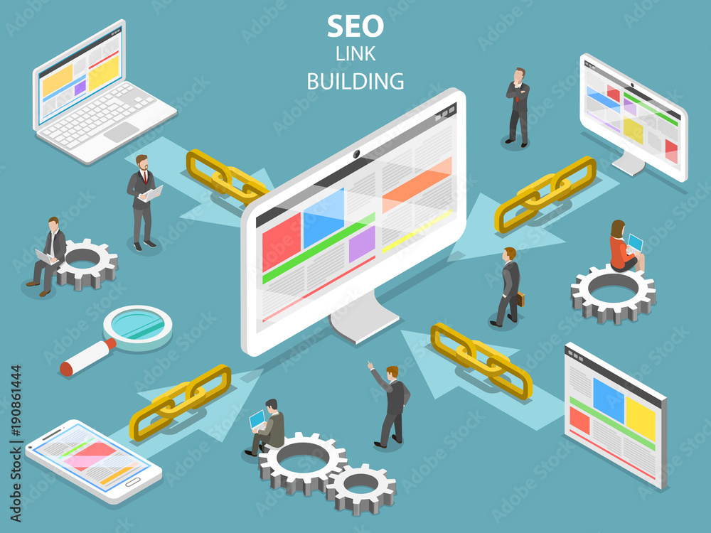Fototapeta SEO link building flat isometric vector concept. Concept of SEO and digital marketing.