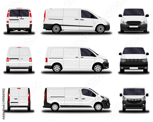 Valokuva realistic cargo vans. front view; side view; back view.