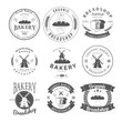 Set of Nine Bakery Label and Badges Design Templates. Vector