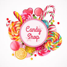 Candy Shop Round Frame Backgro...