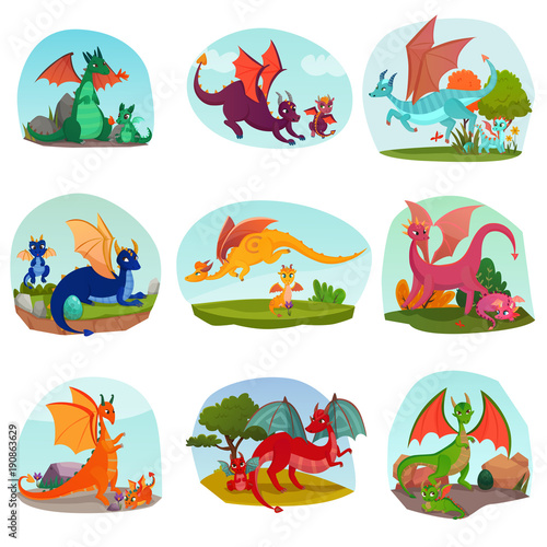 Fotografia, Obraz  Fairy Dragon Kids Set