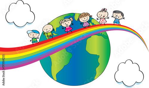 In de dag Regenboog kids on the rainbow and earth