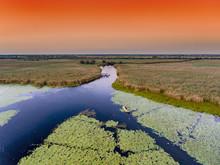 Danube Delta At Sunset Aerial ...