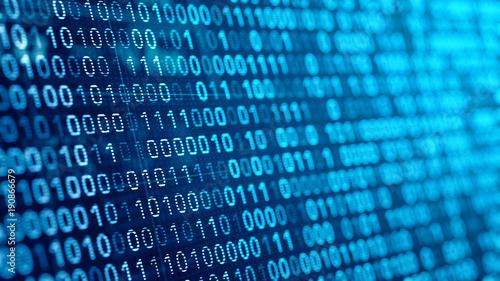 Fotografía  digital binare code background. 3d illustration