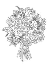 Hand Drawn Bouquet With Roses. Sketch For Anti-stress Adult Coloring Book In Zen-tangle Style. Vector Illustration For Coloring Page, Isolated On White Background.