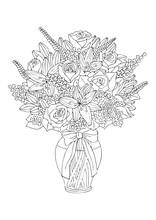 Hand Drawn Bouquet With Roses And Lilies.. Sketch For Anti-stress Adult Coloring Book In Zen-tangle Style. Vector Illustration For Coloring Page, Isolated On White Background.