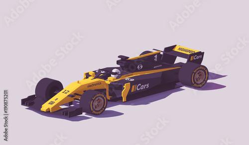 Fotografía  Vector low poly formula racing car
