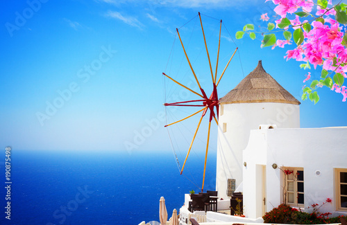 Fototapeta windmill of Oia, Santorini obraz