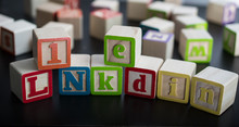 Kids Blocks With The Word LinkedIn As The Social Business Network