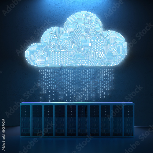 circuit cloud with server Wall mural