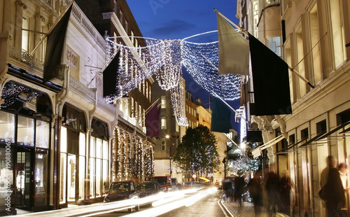 Photo  UK - Cities - Christmas Shopping Street in London, motion blurred people present