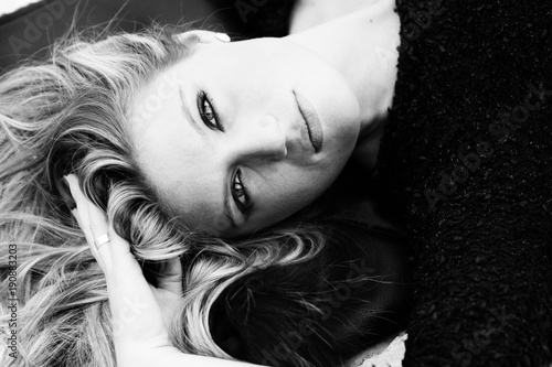 Printed kitchen splashbacks Portrait of fashionable young woman posing in, rocky background, quarry. Black and White Portrait Image.