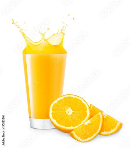 Foto op Canvas Sap glass of splashing orange juice