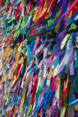 Foto op Aluminium Paradijsvogel bloem Colorful ribbons on the grid in front of Bonfim church in Salvador, Bahia, Brazil