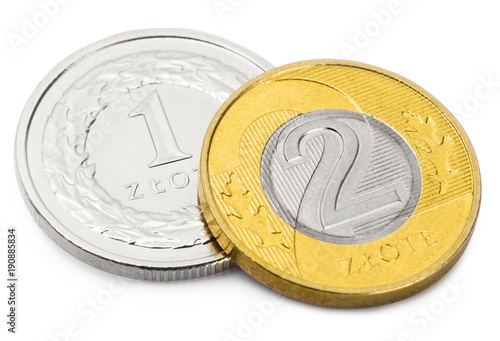 Fotomural Close up shot of two coins of Polish national currency - Zloty