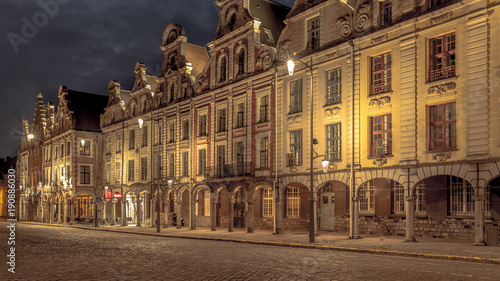 Photo Facades of the houses of the two main squares of Arras in the Pas de Calais take