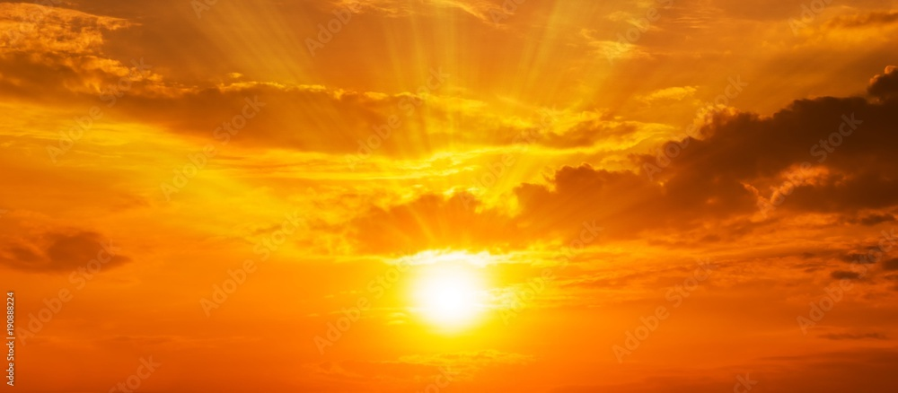 Fototapety, obrazy: background  panorama scenic of the strong sunrise with silver lining and cloud on the orange sky