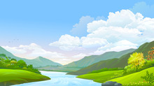 A Flowing River, Blue Sky, Hig...