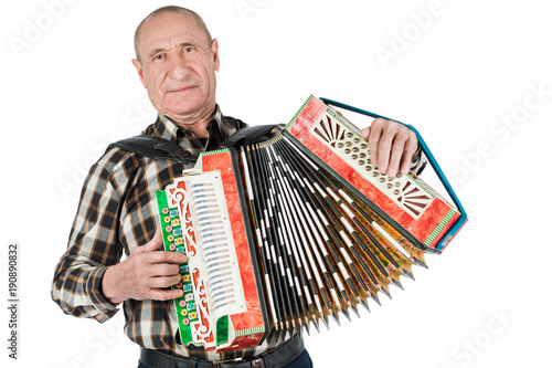 Fotografia, Obraz Portrait of a man, grandfather playing the accordion