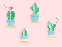 Cactus In Paper Art Style Or Digital Craft
