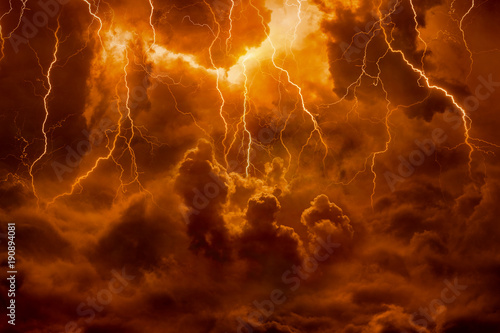 Photographie Hell realm, bright lightnings in apocalyptic sky, judgement day, end of world, e
