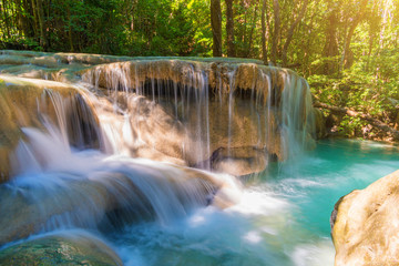 Fototapeta Landscape photo. Waterfall beautiful in southeast asia. Erawan waterfall kanchanaburi Thailand