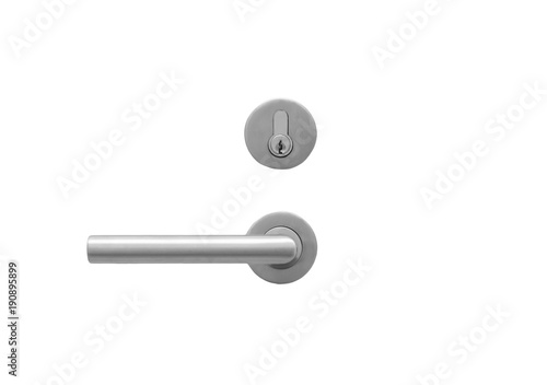 Obraz Metal door handle lock  isolated on white - fototapety do salonu