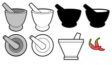 Vector Mortar And Pestle