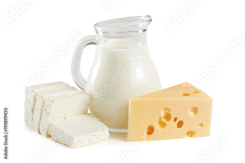 Poster Dairy products Milk, cottage cheese and yellow cheese