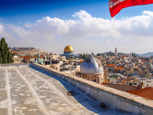 Dome Of The Rock In Jerusalem, Israel. View From The Roof Of The Austrian Hospice.
