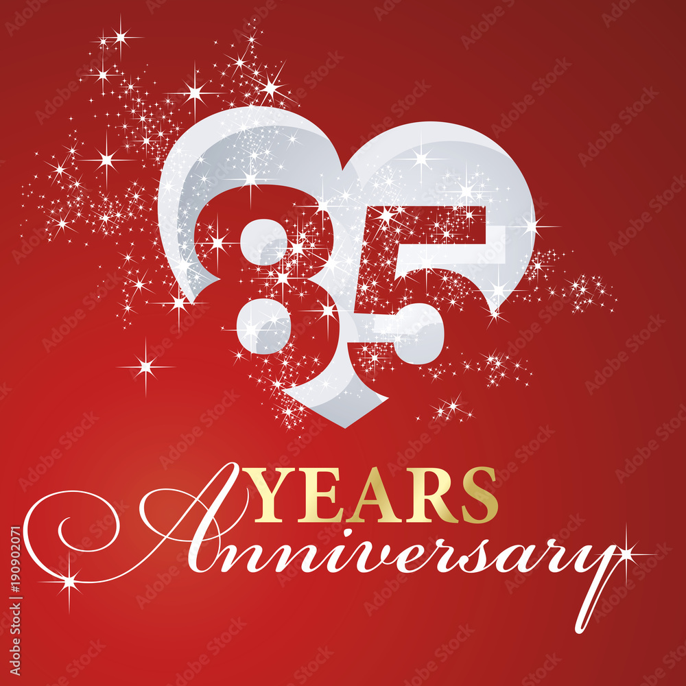 фотография  85 years anniversary firework heart red greeting card icon logo