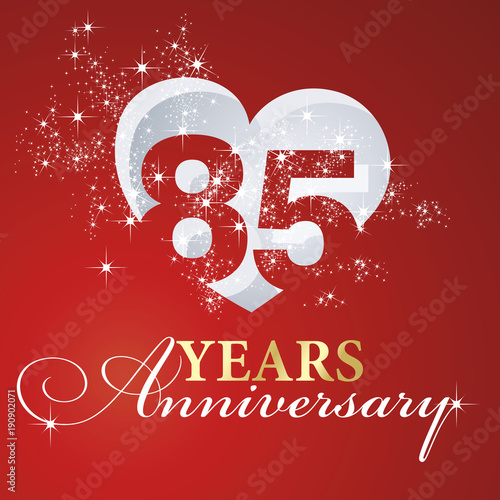 Fotografie, Obraz  85 years anniversary firework heart red greeting card icon logo
