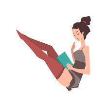 Young Pin-up Model Sitting With Book In Hand. Young Woman In Vintage Lingerie And Stockings. Cartoon Sensual Girl With Smiling Face Expression. Flat Vector Design