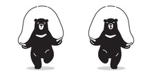 Bear Vector Icon Logo Skipping Rope Polar Bear Doodle Illustration Character