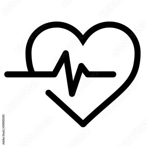Cuadros en Lienzo  Heart beat black vector icon
