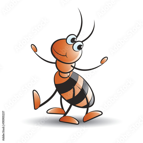 dancing ant with smile vector cartoon © Lal Perera