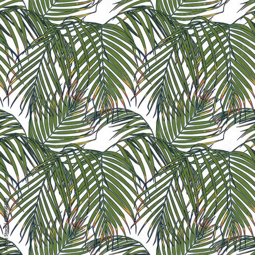 Ingelijste posters Tropische Bladeren Seamless pattern with tropical leaves. Vector illustration