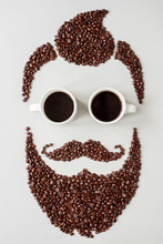 Bearded Hipster Man Made Of Co...