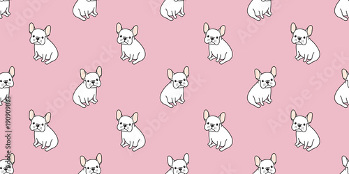 Dog Seamless Pattern French Bulldog Pug Sit Isolated Wallpaper Background Pink