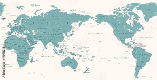 Vintage Political World Map Pacific Centered Fototapeta