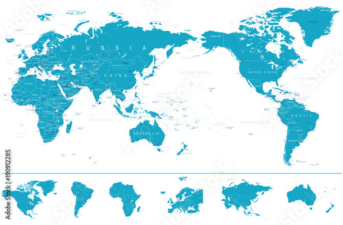 Political World Map Pacific Centered and Continents Wallpaper Mural