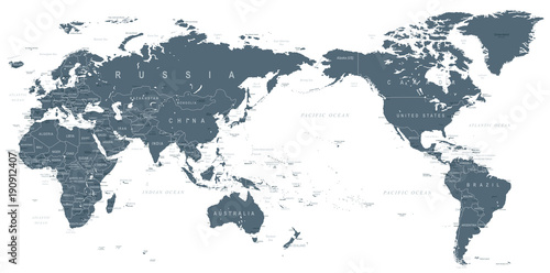 In de dag Wereldkaart Political World Map Pacific Centered