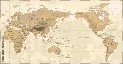 vintage-polityczna-fizyczna-topograficzna-mapa-swiata-na-srodku-pacyfiku