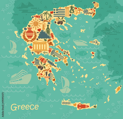 Symbols of Greece in the form of map Wallpaper Mural