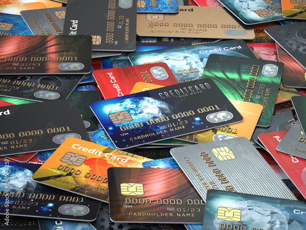 Fototapeta Pile of colored credit cards background,
